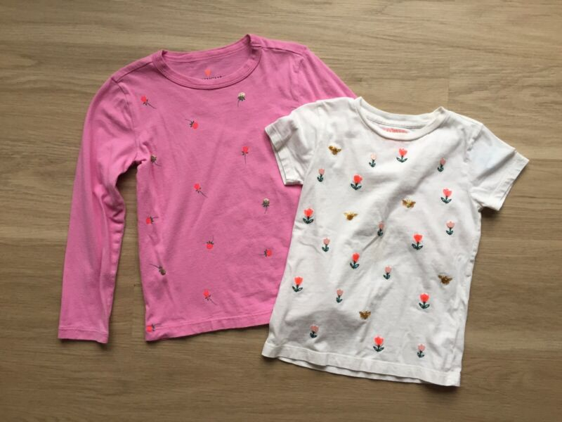 2 J Crew Crewcuts Everday Floral T Shirts Short Long Sleeve 4 5 Pink White