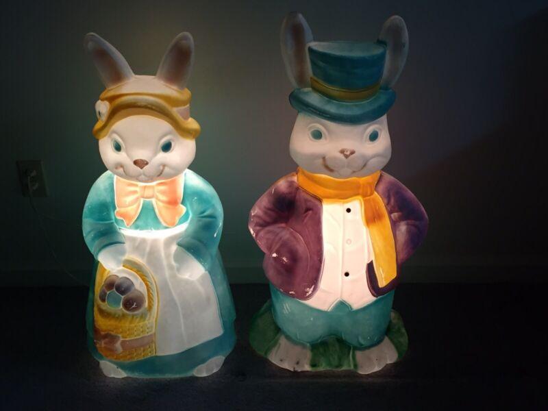 "VTG Empire 34"" Large Mr & Mrs Easter Bunny Blow Mold Set Light Up TESTED LOOK!!"