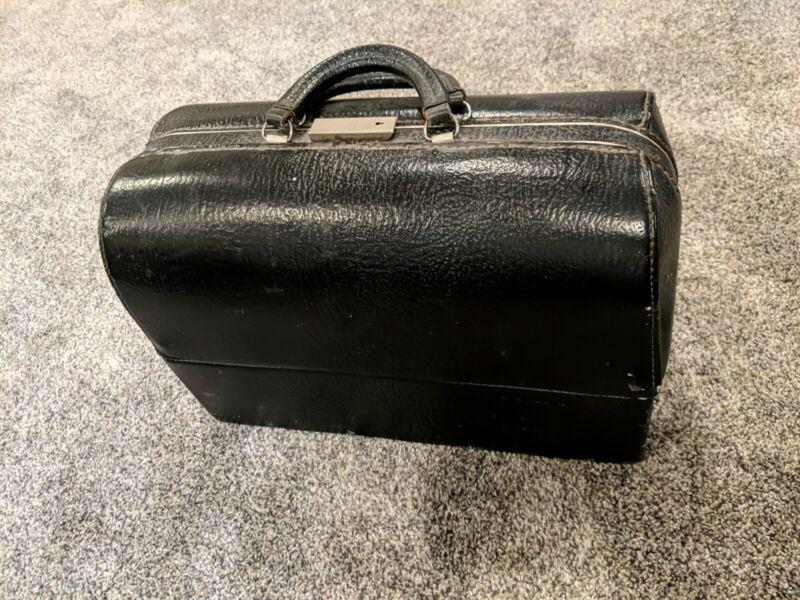Vintage Schell Emdee Doctor Bag Shark Grain Model 59207 & Medical Tool Steampunk