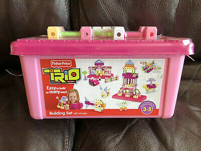 Fisher Price Trio Blocks Pink Building Set Storage Box Girl 97 Pieces R8867