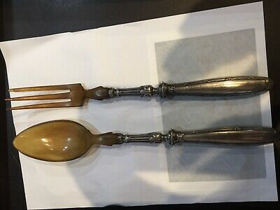 Christofle, Silver Plated & Horn Salad Servers, -