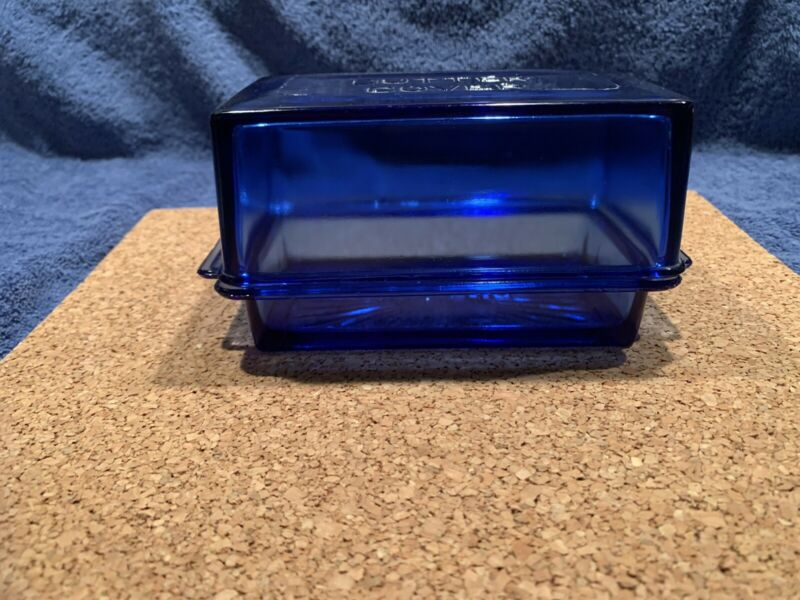 RARE Vintage 1 Pound  Covered Butter Dish Cobalt Blue Glass Excellent Condition