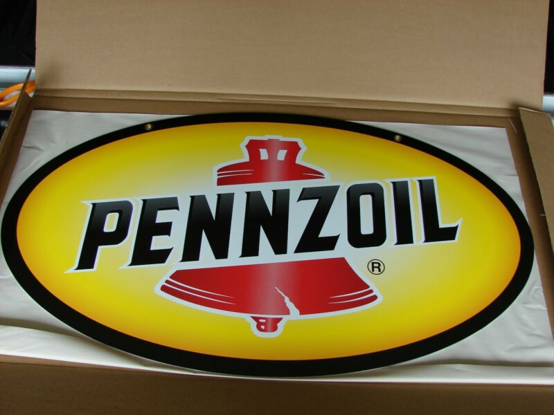 """Pennzoil Oval Motor Oil 2 Sided 32"""" Metal Sign NOS"""