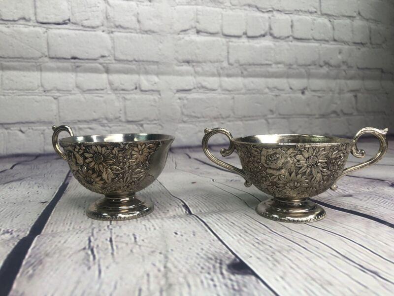 Vintage Antique Flower Metal Creamer and Sugar Bowls