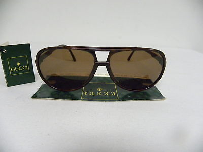 New Vintage Gucci GG 1107/S 77S Dark Brown Aviator Sunglasses Italy 1107