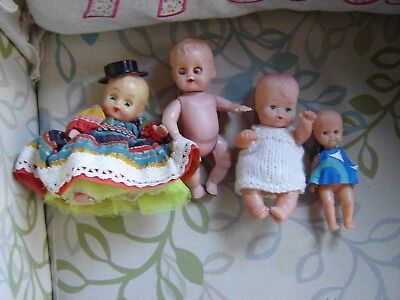 """4.5-6"""" vintage baby dolls. CS Made in Italy, Hong kong and unmarked."""