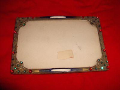 Rare original 1920's Antique Jeweled Enamel Gilt Filigree picture frame