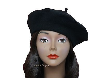 Us Seller Good Quality Classic French 100  Wool Solid Color Womens Beret