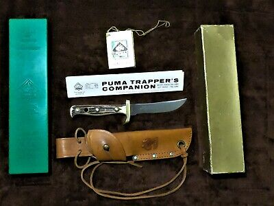 "RARE-PUMA -Trapper's Companion Stag 8.5"" Fixed Blade Sheath Knife-Germany 1969"