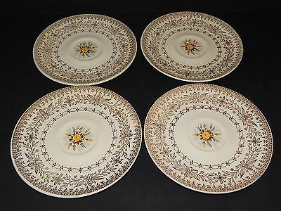 4 Cunningham & Pickett Homer Laughlin Yellow Rose Saucers Floral and Gold