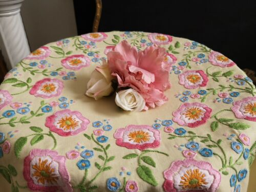 Vintage hand embroidered Yellow Irish linen tablecloth -  Pink florals