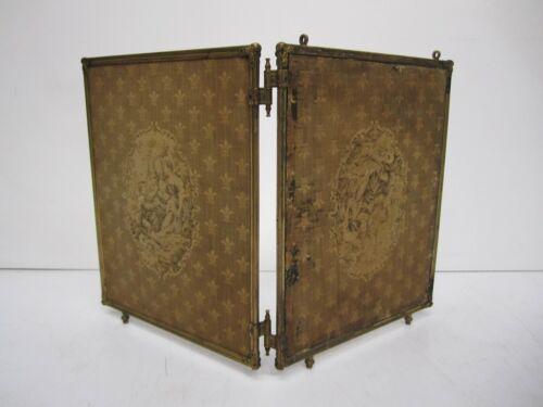 Antique Victorian Bi Fold 2 Panel Hanging Folding Mirror Vanity Fabric & Brass