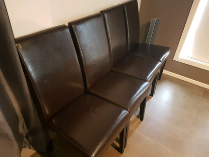 Real leather Italian 8 dining chairs -  dark brown