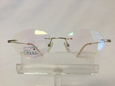 New Old Stock Your Eyes Eyeglasses YE-4 Gold Rimless Oval Drill (Drill Mount Eyeglasses)