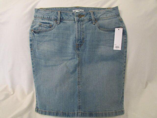 Jean Denim Skirt Light Wash Sonoma 5 Pocket Stretch Size 16 ...