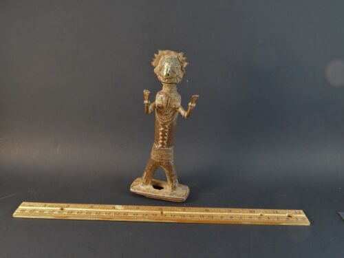 "Rare Antique Asian Indian Bastar Tribal Bronze Metal Standing Deity Figure 6.25"""