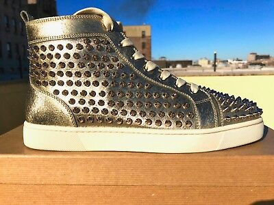 Mens Christian Louboutin Orlato Flat Gold Animal Spike Sneakers Size 42