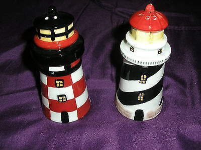 Lighthouse Salt & Pepper Shakers Set b/w r/w
