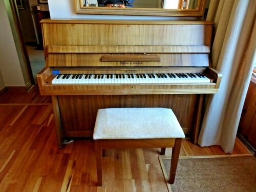 Art Deco Overstrung Squire & Longson Upright Piano & Matching Stool