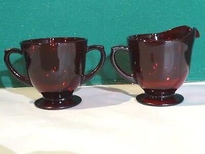 Vintage Ruby Red Glass Sugar Bowl Creamer Pitcher Set