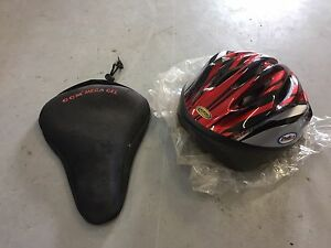 Gel bike seat cover and new bike helmet