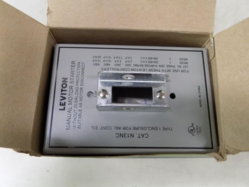 LEVITON GRAY MANUAL MOTOR STARTER ENCLOSURE N13NC-DS NIB