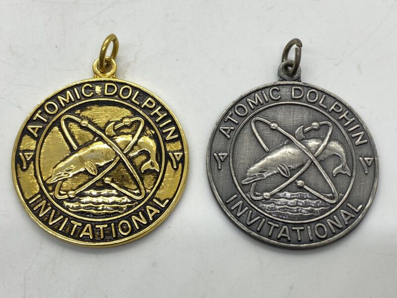 Lot of 2 Vintage YMCA ATOMIC DOLPHIN Invitational Swim Medals Gold & Silver s3