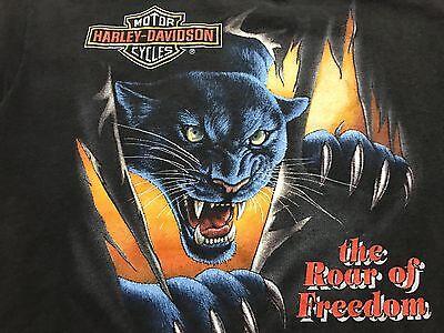 Vtg 1992 3D Emblem Harley Davidson Blue Panther Womens Cut T-Shirt S/M