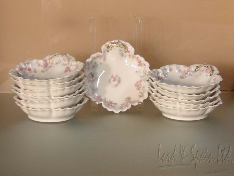 12 Haviland Limoges Schleiger 32 Pink & Blue Flowers Individual Bowls
