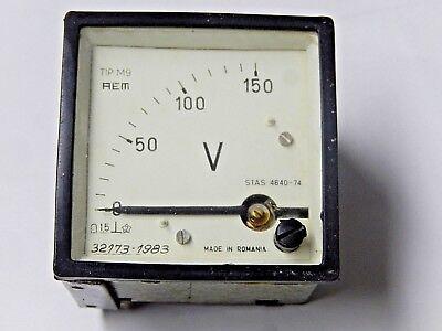 Romanian Rem Military Voltmeter 0-150v 1.5 From 1980s Panel Meter.