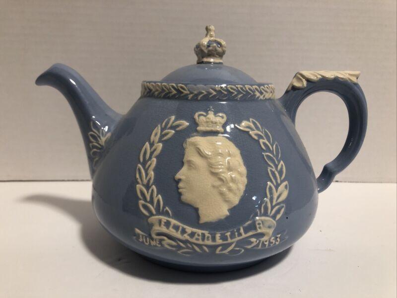 Vintage Queen Elizabeth 1953 Dartmouth Pottery Devon England Tea Pot