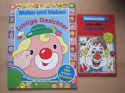 r kleben und malen Stickerbuch Malbuch basteln Mitmachbuch (Gesicht Malen Sticks)