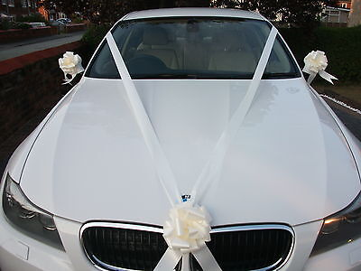 IVORY Wedding Car Decoration Kit 3 Large Bows & 7 Metres of Ribbon FAST FREEPOST