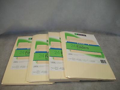 Lot Of 4 Packs - Legal Size Manila Folders 24 Each Pack 13rd Cut 16929