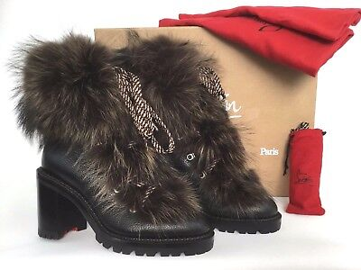 Christian Louboutin FANNY Genuine Fur Black Leather Boot 37/7