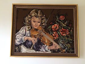 Girl Playing Violin Needlepoint Picture
