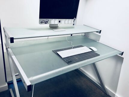 Double Level Glass Desk