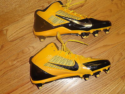 Mens 11.5 Nike Alpha Pro 3/4 Flywire Football Cleats Black Gold yellow Spikes