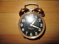 9H/VINTAGE INGRAHAM WIND UP DOUBLE BELL ALARM CLOCK/COPPER?/GLOW IN THE DARK!
