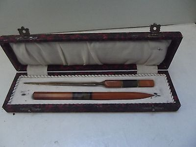 (B55) Art Deco Federhalter und Brieföffner Bernsteinimitat Bakelit in Dose