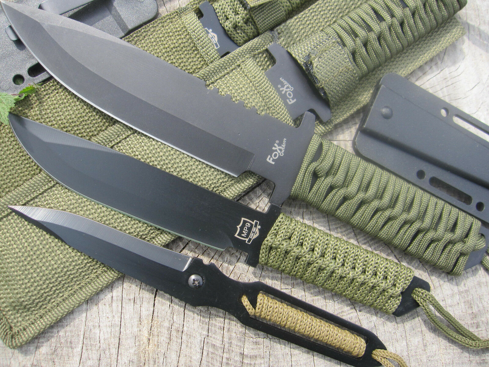 3 Messer BW Outdoorset Edelstahl Paracord Gürtelmesser Neck Knife Halsmesser