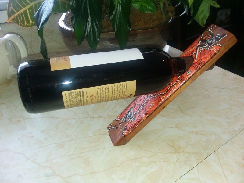 Valdo Australia Balancing Wine Bottle Holder -  Wood Aboriginal Art Kangaroo
