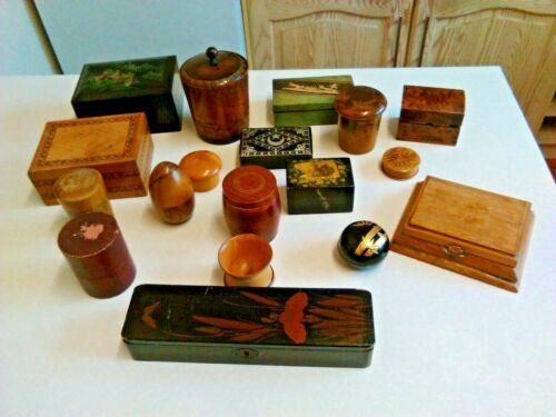 Job Lot of 18 Antique & Vintage Wood & Lacquer Trinket Boxes (3302)