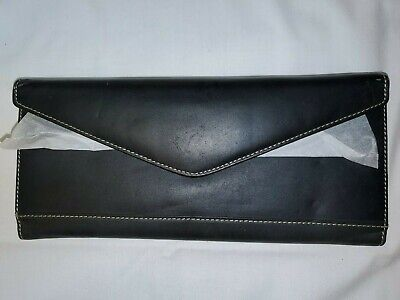 Vintage Buxton Business Card Id Holder Black Genuine Leather Magnetic Clasp