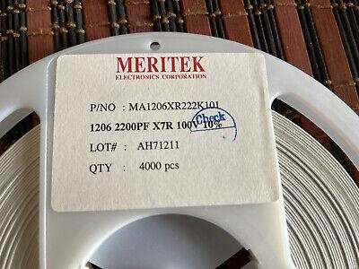 Capacitor Ceramic 2200pf 100v Smd 1206 4000 Pcs