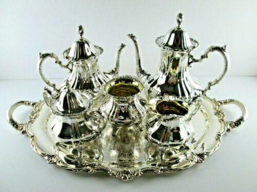 LANCASTER ROSE by Poole Sterling Silver 5 PC Coffee Tea Set + Tray