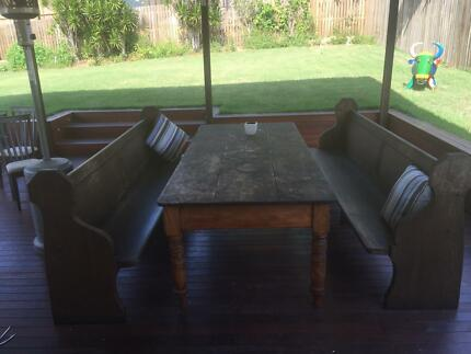 English Oak Church Pews and Table Alderley Brisbane North West Preview