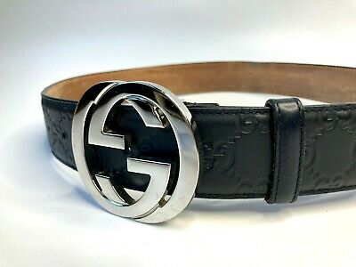 GUCCI VINTAGE GG CHROME BUCKLE GUCCISSIMA EMBOSSED BELT MEN LEATHER BLUE ITALY