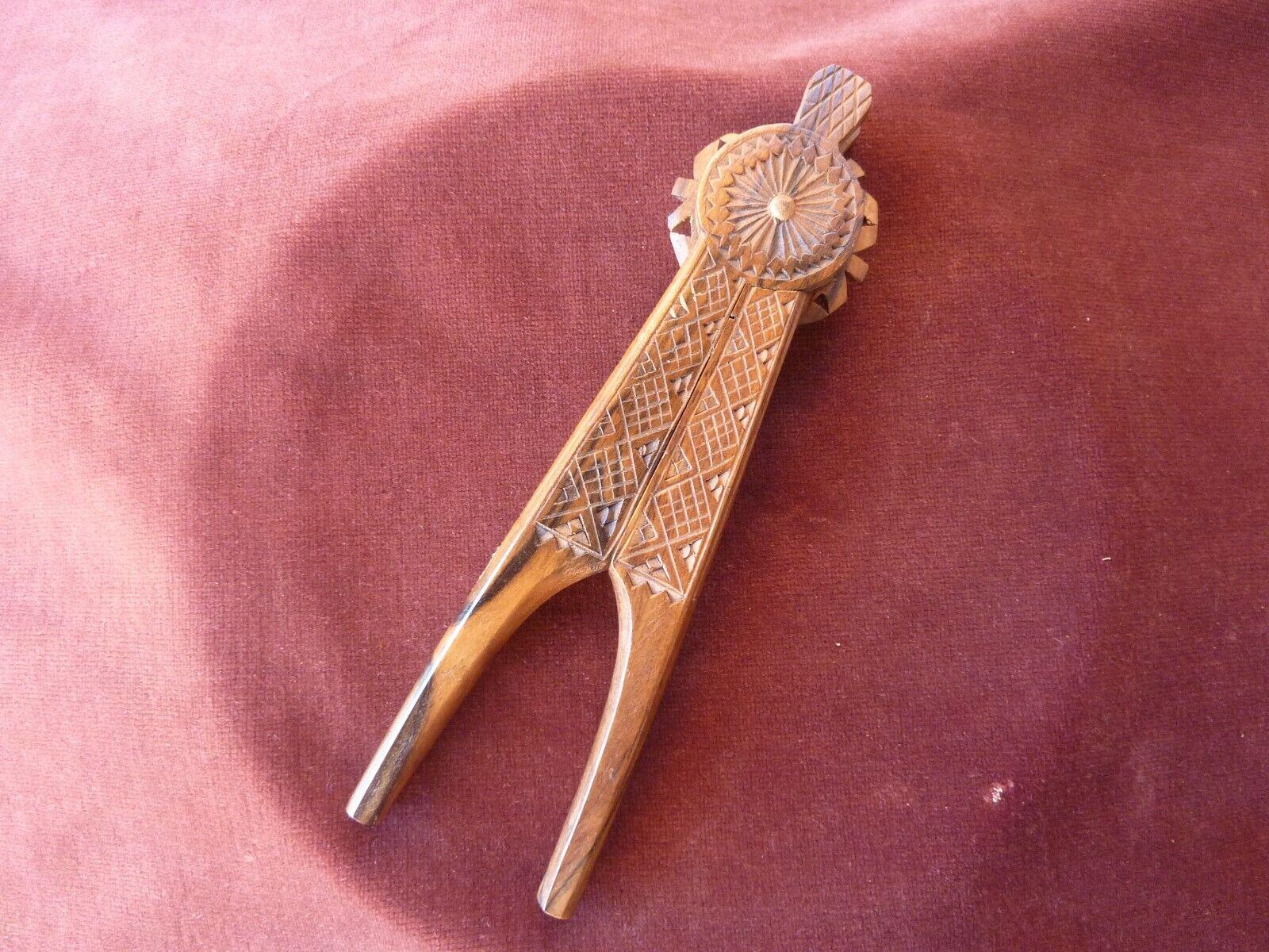 Schiaccianoci Legno Intagliato Arte Popolare, H 21cm