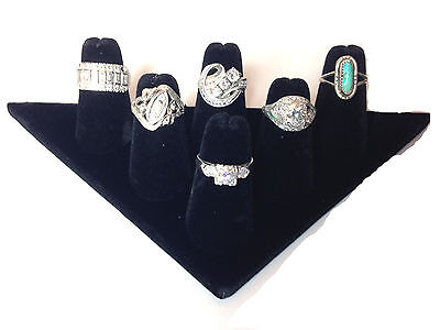 Two 6-finger Ring Display Black Velvet Jewelry Showcase Rings Triangle